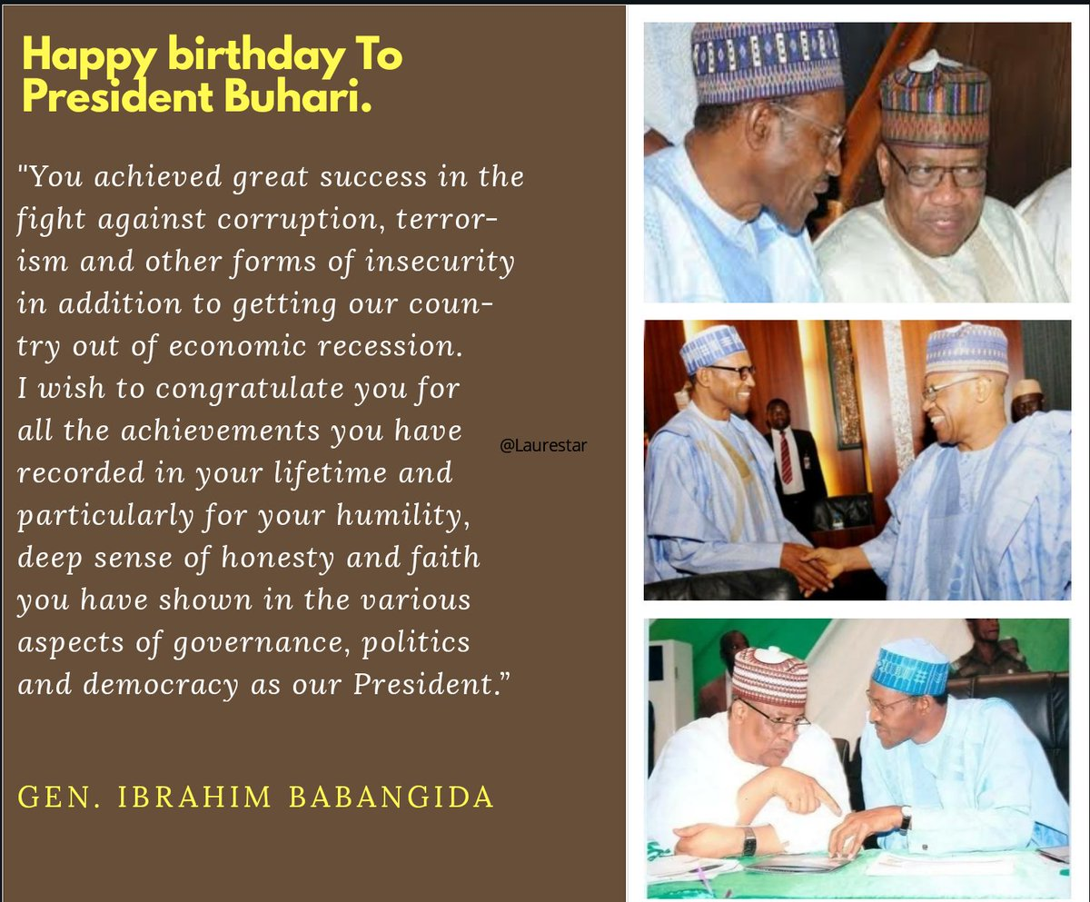 Happy 76th Birthday to President Buhari  ➖ Gen. Ibrahim Babangida pays glowing tribute to our dear President. https://t.co/RM2sFkugHc