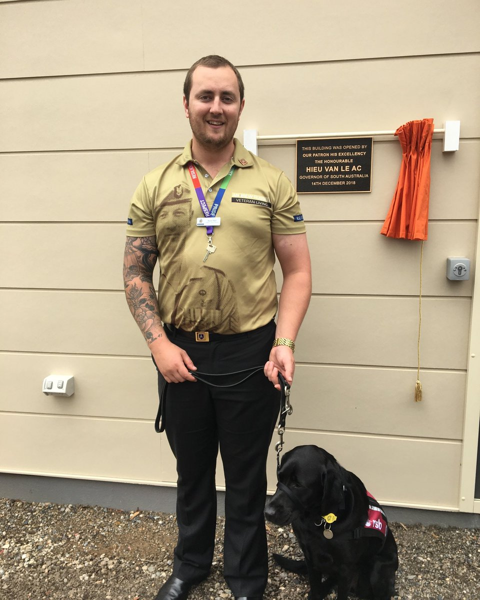 test Twitter Media - Afghanistan veteran Kane Hall with Gracie his new Operation K9 dog thanks to Royal Society for the Blind  and RSL South Australia. Kane is a valued member of RSL Care SA and also assists the Plympton Veterans Centre. Best Wishes Gracie and Kane, may you have many years together. https://t.co/lKreHPcN6Q