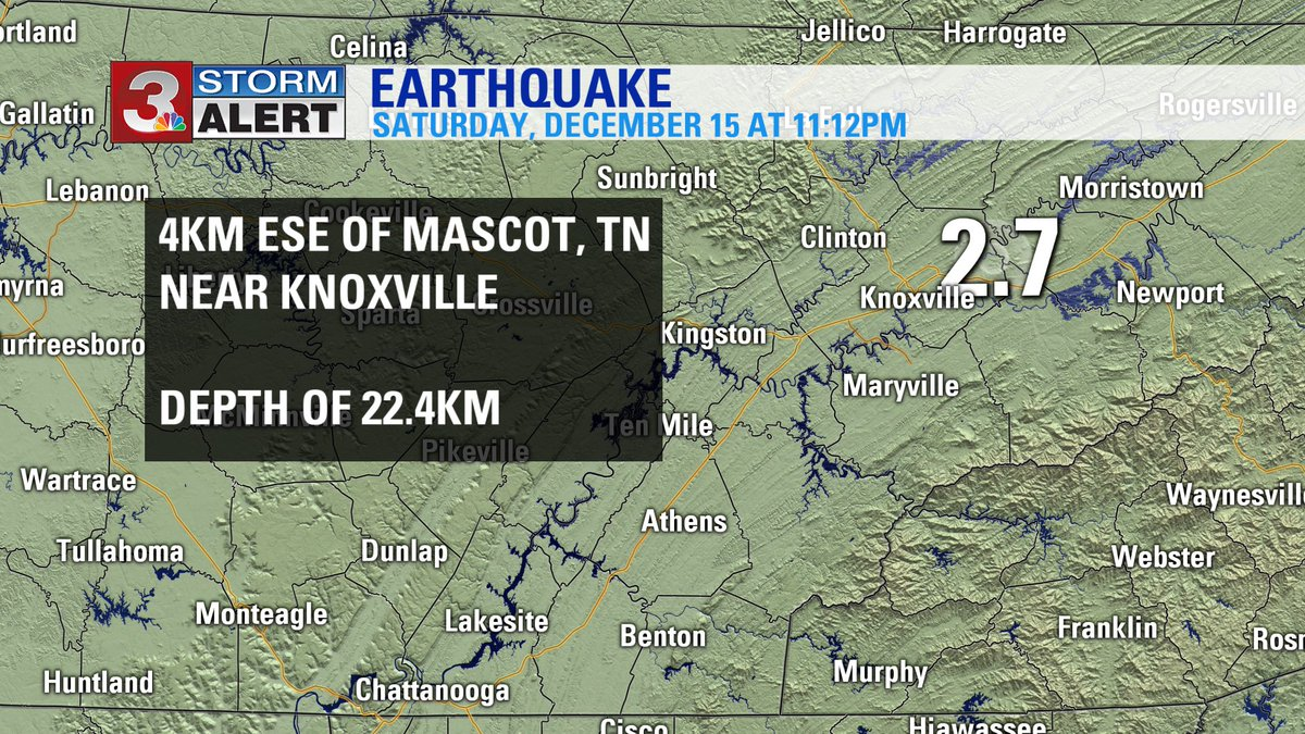 Another small earthquake, Magnitude 2.7, occurred last night outside of Knoxville at 11:12PM EST.  #CHAwx @wrcbtv https://t.co/3JY4AA1rSq
