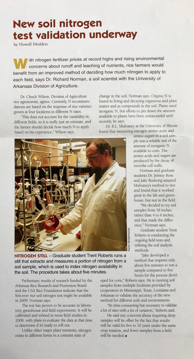 test Twitter Media - Blast from the past: ⁦@UARK_SoilTest⁩ as a grad student from 2008 issue of #Arkansas #Rice ; ⁦@arksoydoc⁩ also mentioned as a grad student ⁦@ArkAgResearch⁩ https://t.co/Tc2vDv7FRt