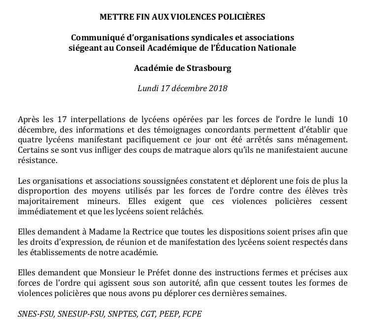 test Twitter Media - RT @JulienGossa: Communiqué intersyndical après l'arrestation de lycéens à Strasbourg. https://t.co/loEfoch1uz