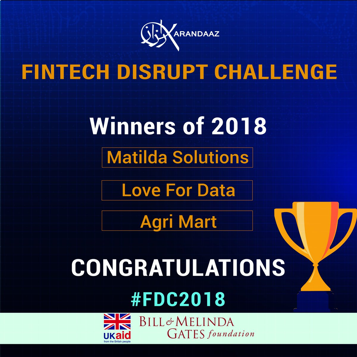test Twitter Media - Karandaaz is proud of the impressive #FDC2018 finalists. They are examples of the entrepreneurial spirit that will propel country's competitiveness in the services markets. Congratulations to the 3 winners, we look forward to working closely to deliver innovative #DFS in Pakistan https://t.co/a1mTbC0i4q