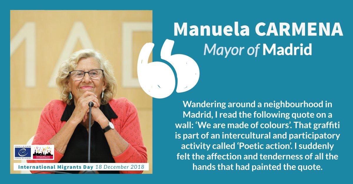 """Recuerdo un mural que vi en las calles de Madrid: """"Estamos hechos de colores"""". Hace sentir el afecto y la ternura con los que nuestra ciudad acoge. Es el mensaje que he compartido con la Red de Ciudades Interculturales del Consejo de Europa en el Día Internacional del Migrante. https://t.co/qpDRCjmDZ9"""
