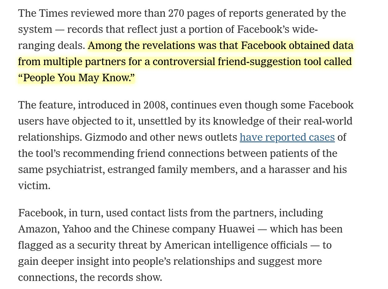 """RT @zeynep: So, as many suspected, Facebook combined data from wherever it could in order to suggest """"people you may know""""—also outing psychiatrist's patients to one another etc. What this reporting shows is that Facebook exchanged people's *data* (without informing them) to get that data. https://t.co/1LGNtWf6HY"""
