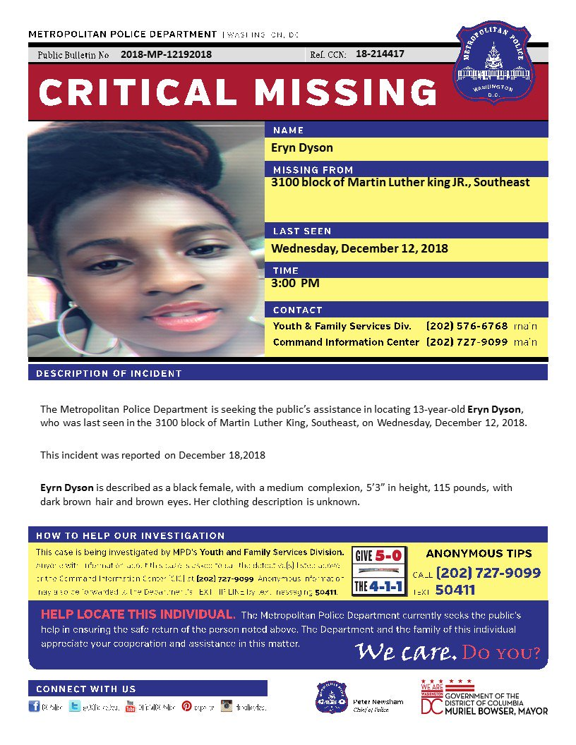 Critical eryn dyson, 13, who was last seen in the 3100 block of