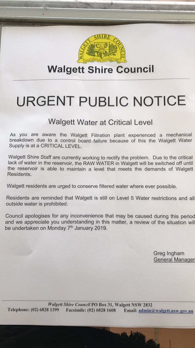 RT @raejohnston: As we are hit with a heatwave, Walgett has no water. https://t.co/JoiwoSMyyS