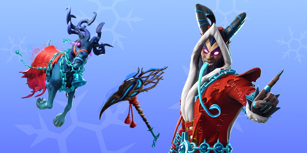 """test Twitter Media - My little folkloric heart went pitter-pat when I saw today's skin, """"glider"""" and pickaxe in the #Fortnite item shop today. Krampus rules pop culture as the darker #Xmas influence/alternative this year! #FolkloreThursday #Yule https://t.co/2rPf7RnlIb"""