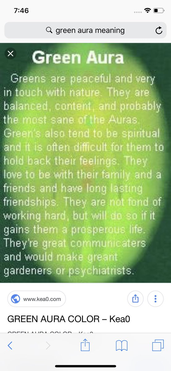 My dad said he sees a green aura around me so I looked this up and this described me perfectly https://t.co/gnUvpP01Nx