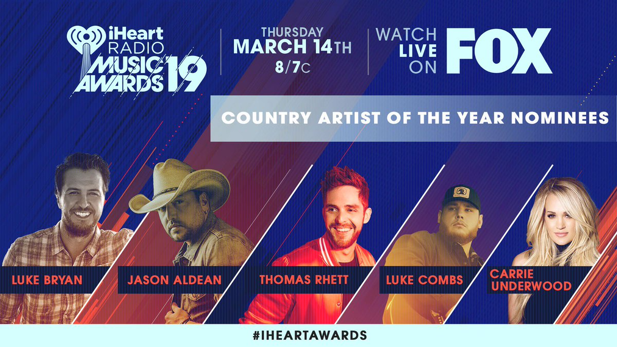 Check out the nominees for Country Artist of the Year at the 2019 @iHeartRadio Music Awards! #iHeartAwards https://t.co/HW2M0xXL8C