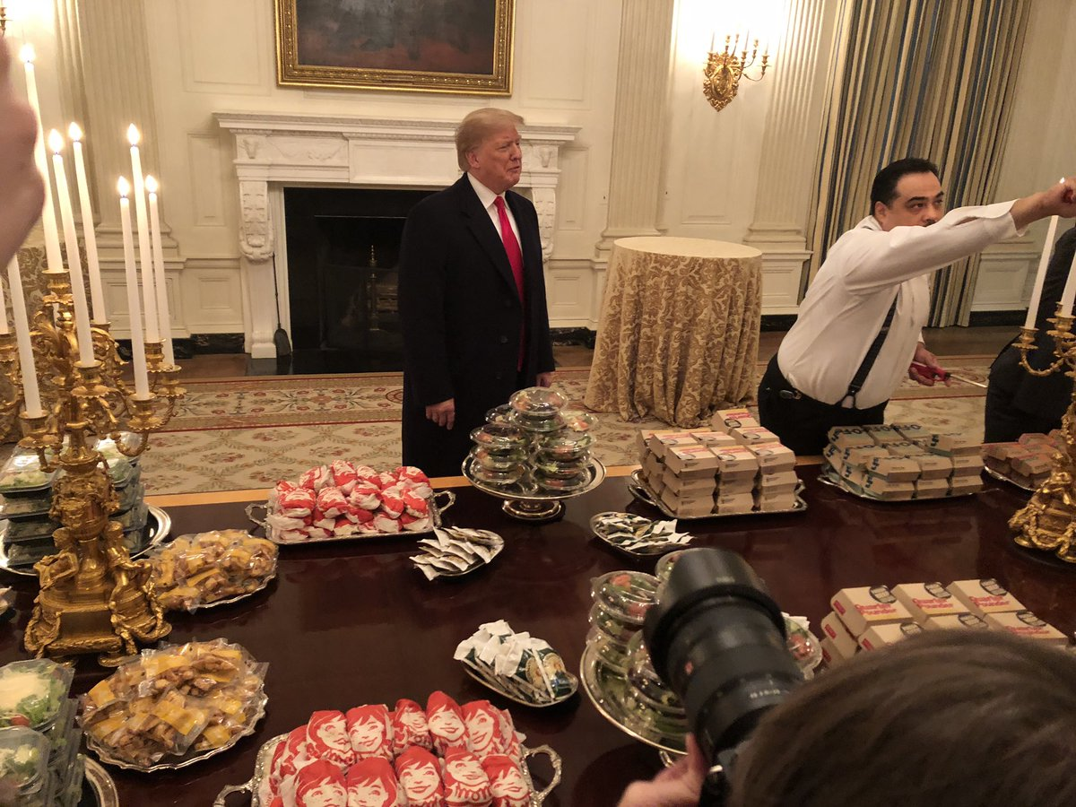 "test Twitter Media - POTUS with ""great American food"" for Clemson Tigers visiting WH. https://t.co/VgmQeXNhk6"