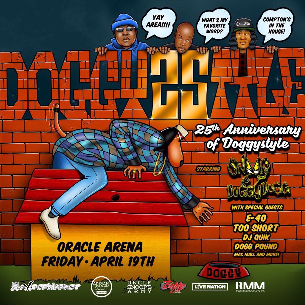 Bay Area !! We celebratin 25 years of Doggystyle 4/19 @OracleArena wit @e40 @TooShort @djquik n more ???????? @BigPercyRMM https://t.co/wcJUZyhvog
