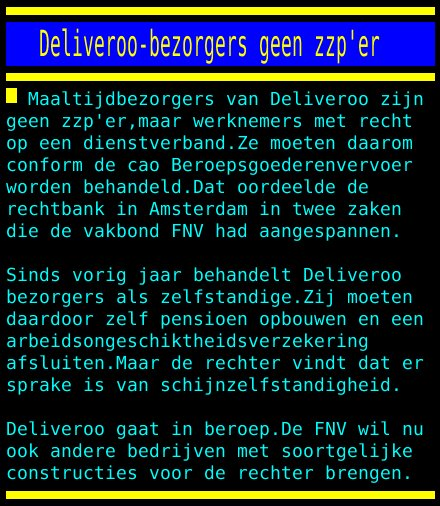 test Twitter Media - Deliveroo-bezorgers geen zzp'er https://t.co/mM5rl3MYwb