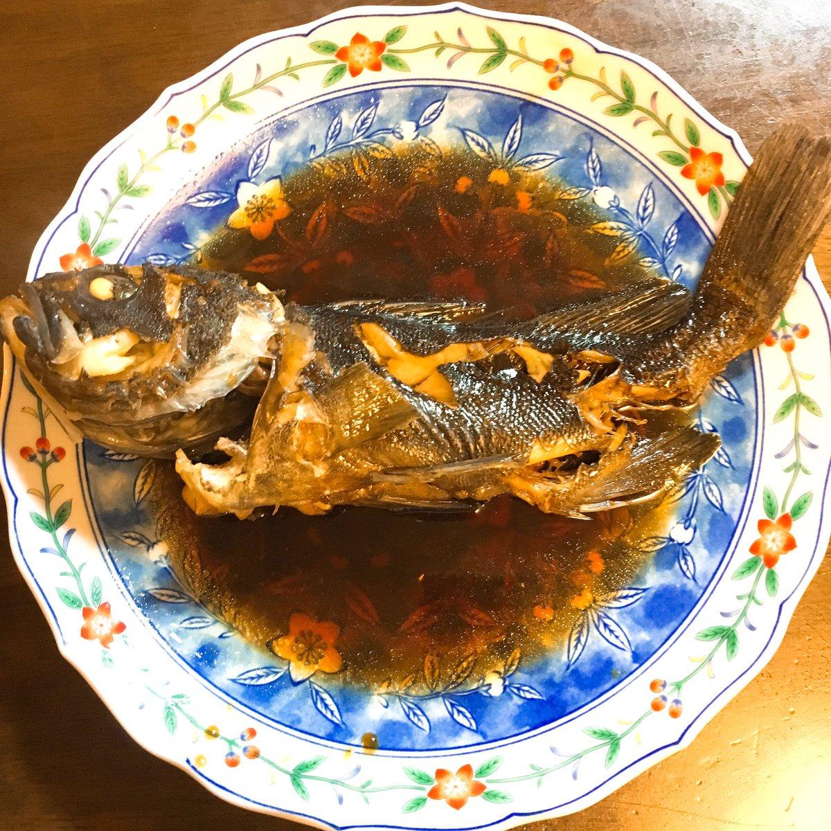 クロソイの煮付け こんなに美味しいとは思わなかった。昨夜はもっと大きなのを 大鍋で煮付けた。皮がプルプルしてて、絶品でした。 この煮汁で焼き豆腐を炊いたら美味しいねんなぁ。 #中道あん #釣果 #クロソイ https://t.co/DmWrmenA2G