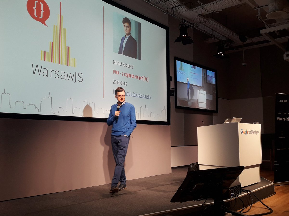 test Twitter Media - Michał Szklarski @warsawjs @ Google Campus opowiada o PWA :-) https://t.co/BKF50WWgTk