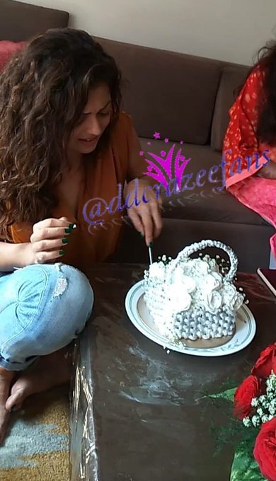 And Angel cutting the cake from            Happy Birthday Drashti Dhami