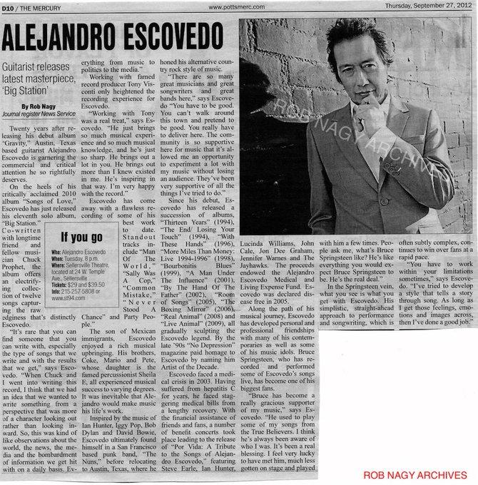 Happy birthday to Alejandro Escovedo. Rob Nagy Archives