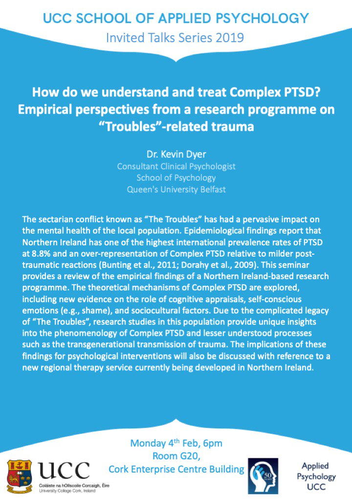 "test Twitter Media - Upcoming evening research talk by Dr. Kevin Dyer of @QUBPsych ""How do we understand and treat Complex PTSD? Empirical perspectives from a research programme on ""Troubles""-related trauma"" Stick it in Your Diaries! @UCC @UCCpsychiatry https://t.co/2dKjEG5bnU"