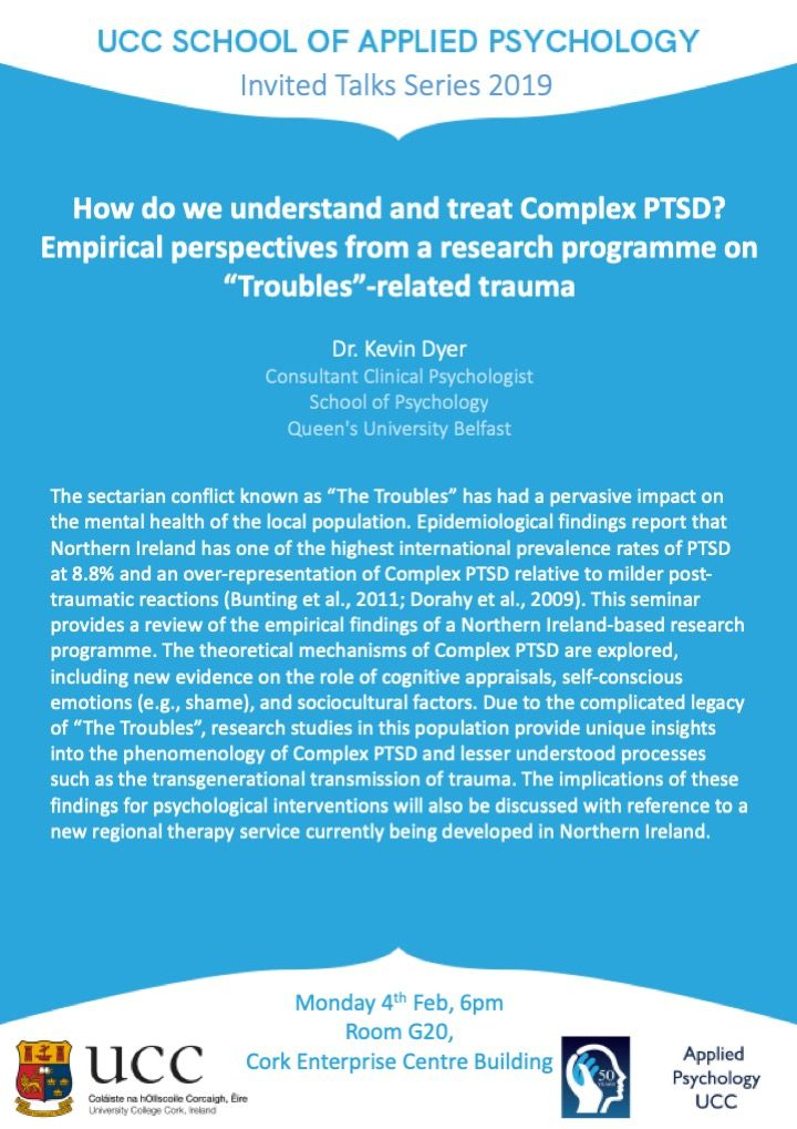 "test Twitter Media - The next School of Applied Psychology Invited Talk, ""How do we understand and treat Complex PTSD? Empirical perspectives from a research programme on 'Troubles'-related trauma"" will be given by Dr Kevin Dyer on Monday 4th February at 6pm, Room G20, Cork Enterprise Centre Building https://t.co/OoHcOaxoyG"