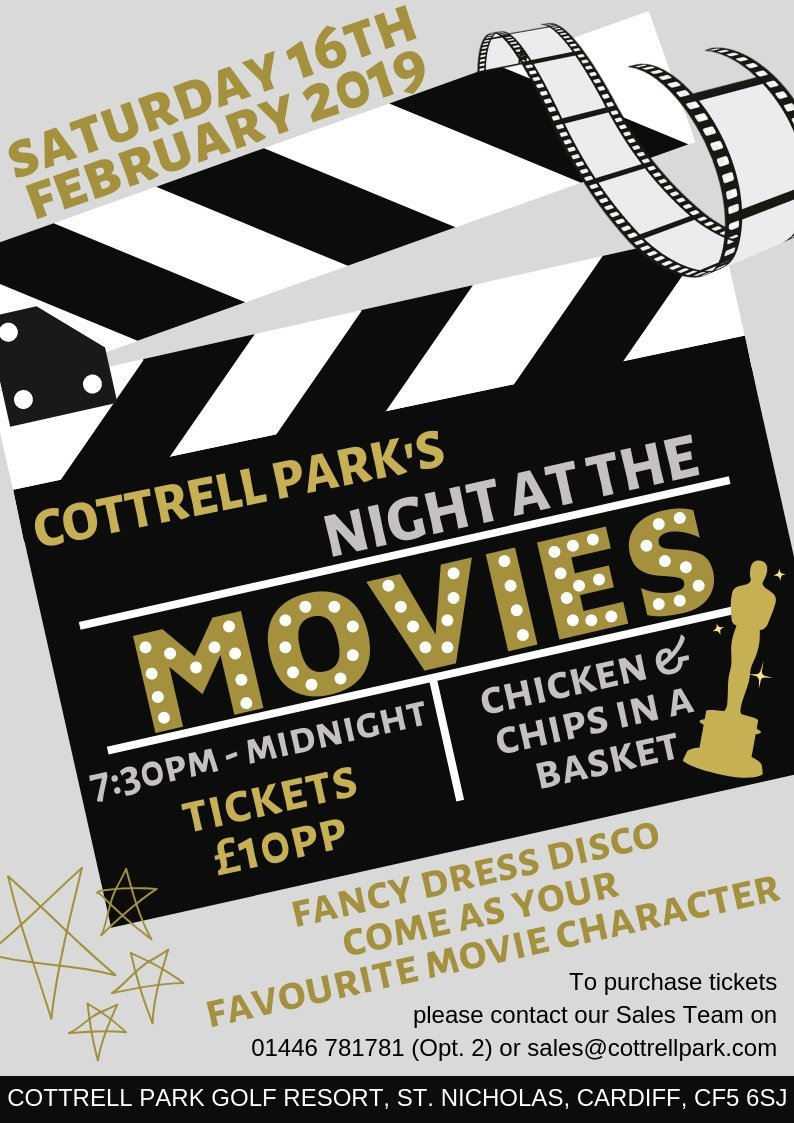 test Twitter Media - NIGHT AT THE MOVIES...✨🎬  ✨Sat 16th Feb 2019 ✨Tylers Cabin, 7:30pm - Midnight ✨Tickets - £10pp ✨Disco & Food  To book your tickets please contact our Sales Team on 01446 781781 (Opt 2) or email sales@cottrellpark.com . #fancydress #movienight #cardiffevents #whatsoncardiff https://t.co/l9aexTtN2Q
