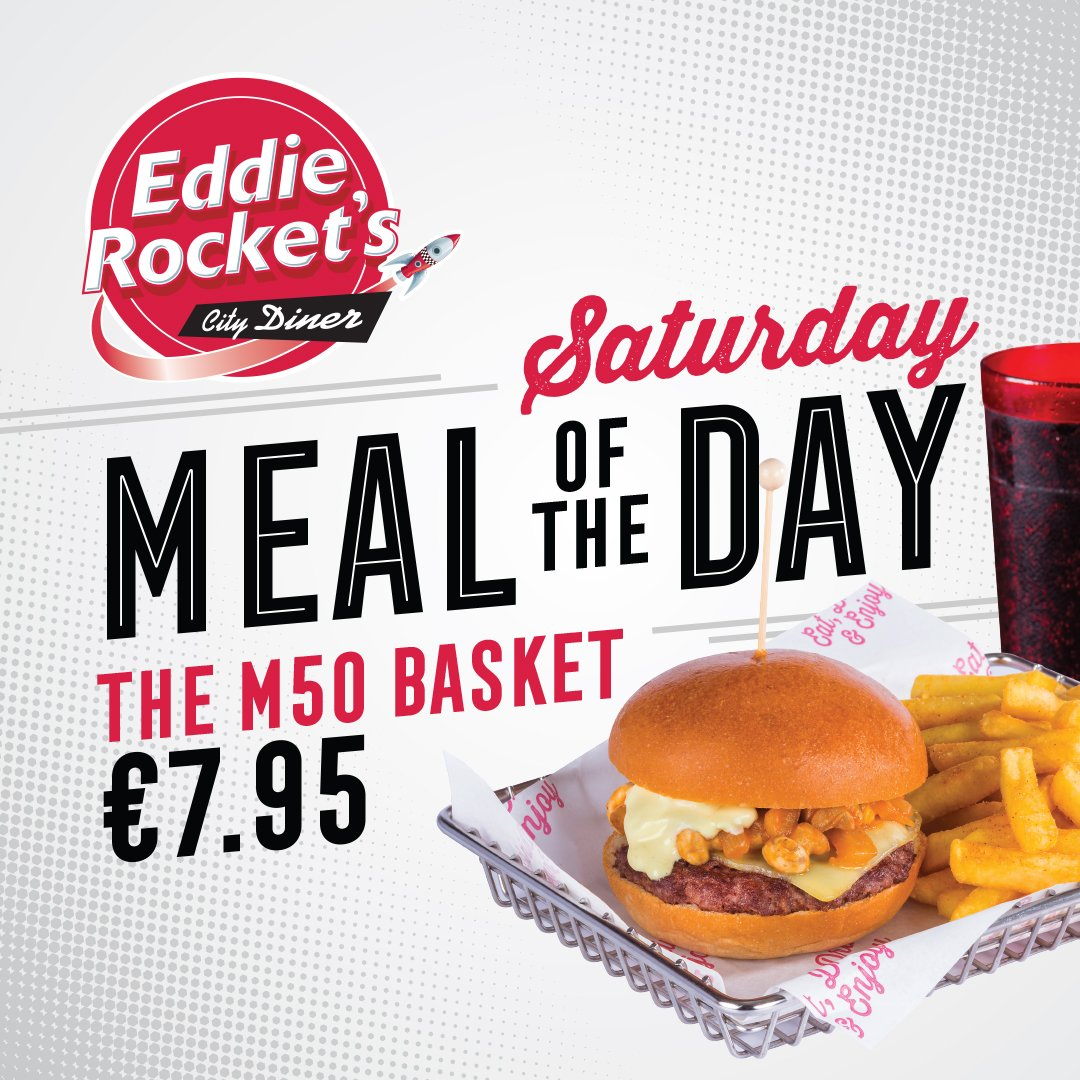Beat the traffic & get into to your nearest diner for today's meal of the day, The M50 Basket, for just €7.95 🍄🧀🍔 https://t.co/HFauSqejU9