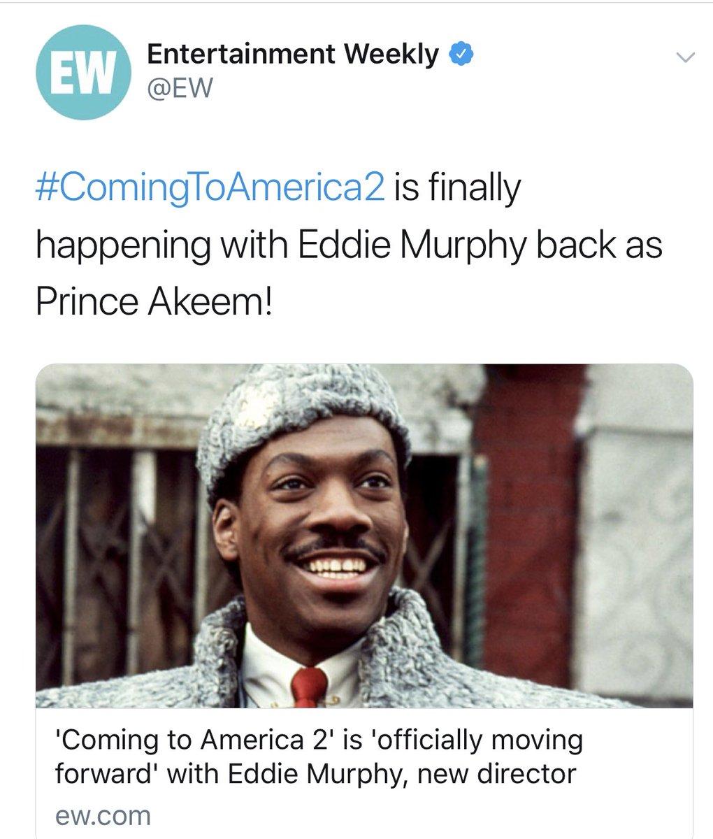 Yaaasssss!!!💃🏽 #BestNewsEver!!👏🏾 #ComingToAmerica2🎟🎬🍿 #Sequel🎥🎞 #EddieMurphy @arseniohall @JamesEarlJones...