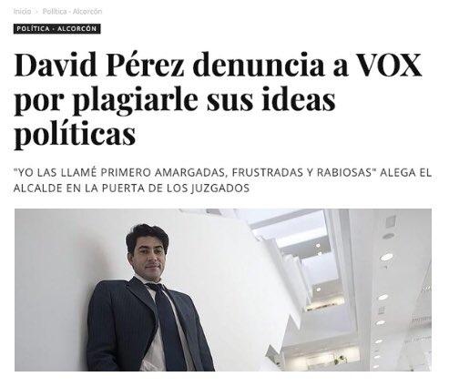 El Alcalde de #Alcorcón, David Pérez, denuncia a VOX por plagiarle sus ideas políticas https://t.co/VxIaVk3NmV
