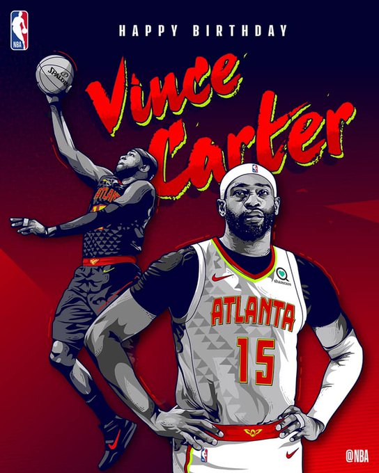 Join us in wishing Vince Carter of the Atlanta Hawks a HAPPY 42nd BIRTHDAY!