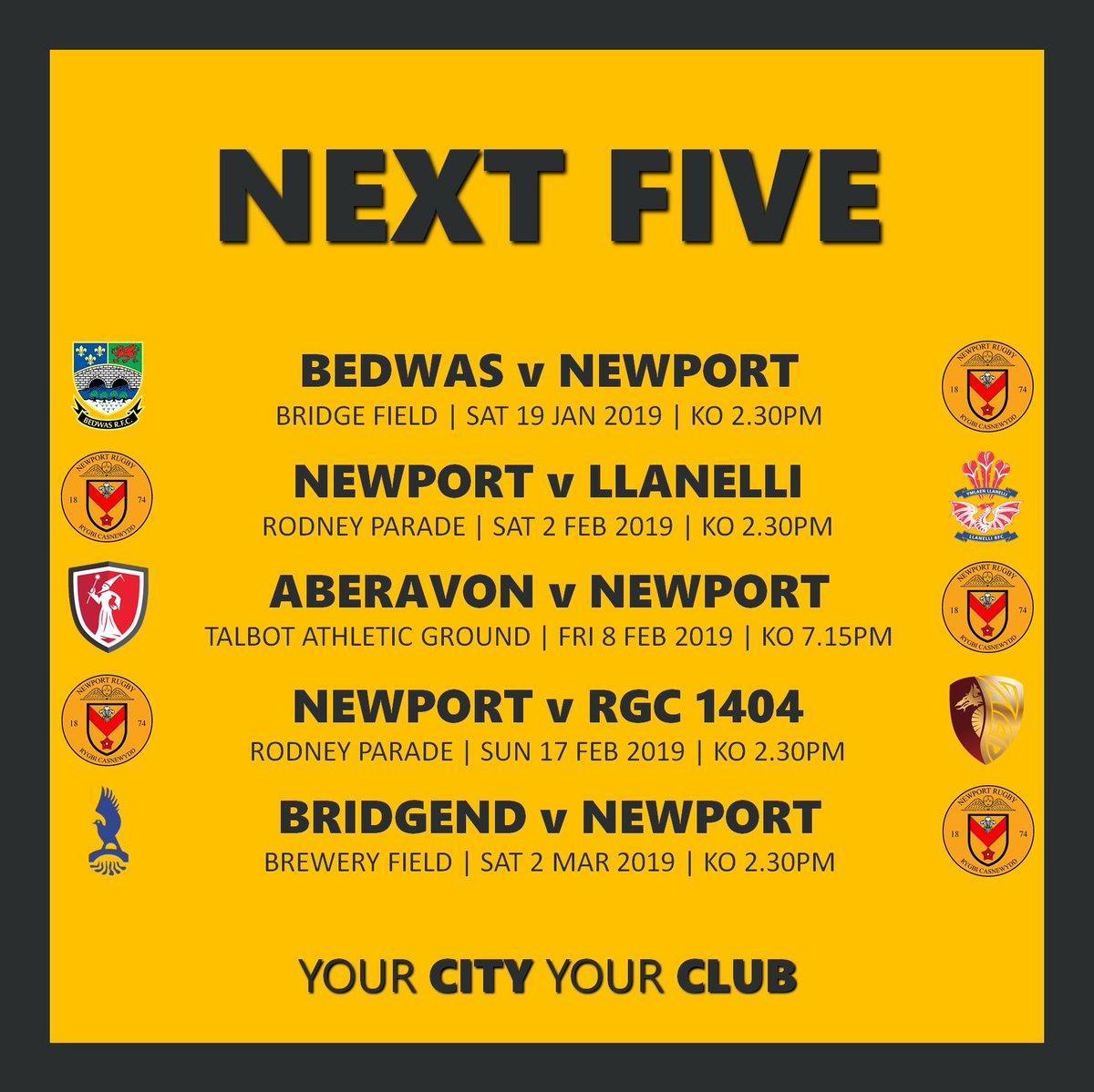 RT @NewportRFC: NEXT FIVE | Get your diaries out! PUM NESAF | Dyddiaduron yn barod!  #COTP #YmlaenCasnewydd https://t.co/jSAg4wz9Rh