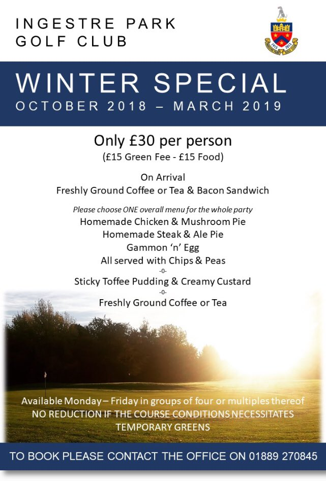 test Twitter Media - @IngestreParkGC #winterspecial is still on Book your four ball with the office 01889270845 #golf #Staffordshire #offer #DealoftheDay  @StaffsDailyNews @StaffsNews @StaffsNewsNow @staffslife @ExpressandStar @staffsgolf @StaffordshireCC @ingestrelodges @IngestreO @IPGCourseupdate https://t.co/u6yYGOk1P4