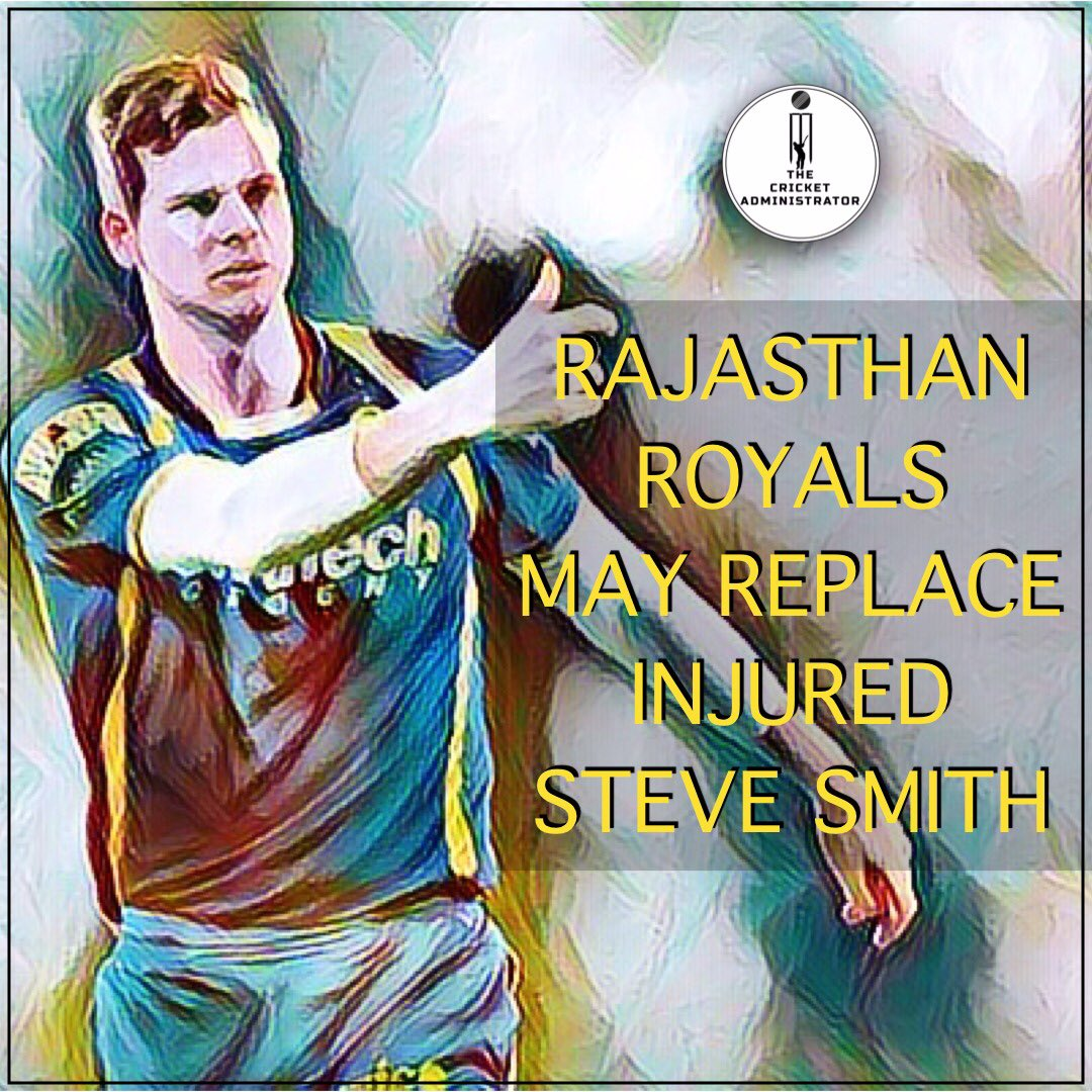 test Twitter Media - Rajasthan Royals seek permission to replace Steve Smith as the former Australian captain is set to undergo the elbow surgery and has also pulled out of the ongoing Bangladesh Premier League (BPL).   #ipl #ipl2019 #stevesmith #rajasthanroyals #rr #injury #cricket #iplt20 https://t.co/uBwBauBDu3