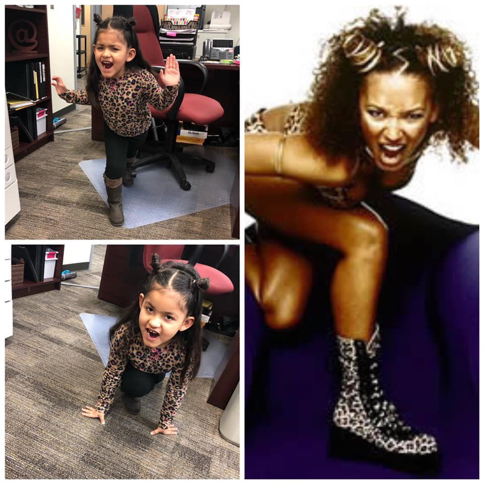 It's 90s day at my niece's school. Today, she is GiGi aka #ScarySpice @OfficialMelB https://t.co/931SfSXgP3