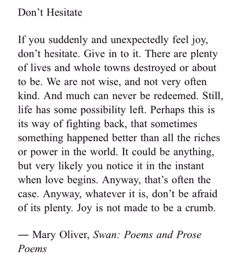 RT @emilyhughes: I asked my mom to read this Mary Oliver poem at my wedding and it still makes me cry https://t.co/Q3F5vSJIy0
