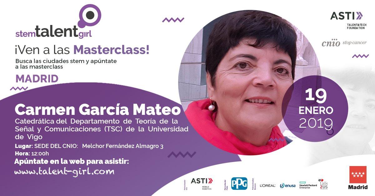 test Twitter Media - Nuestra compañera Carmen García Mateo impartirá una #MASTERCLASS  en #Madrid dentro del programa @StemTalentGirl de @AstiFoundation  #STEM #Ciencia #Tecnologia  https://t.co/X3CcoieASF https://t.co/uzQ5Mo04s6