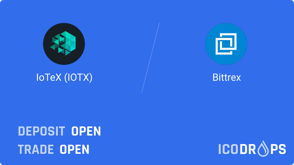 IoTeX has been listed on Bittrex. The token is now available for trading. 💧https://t.co/Um4AxOWZ18 https://t.co/ccn0JsVPBf