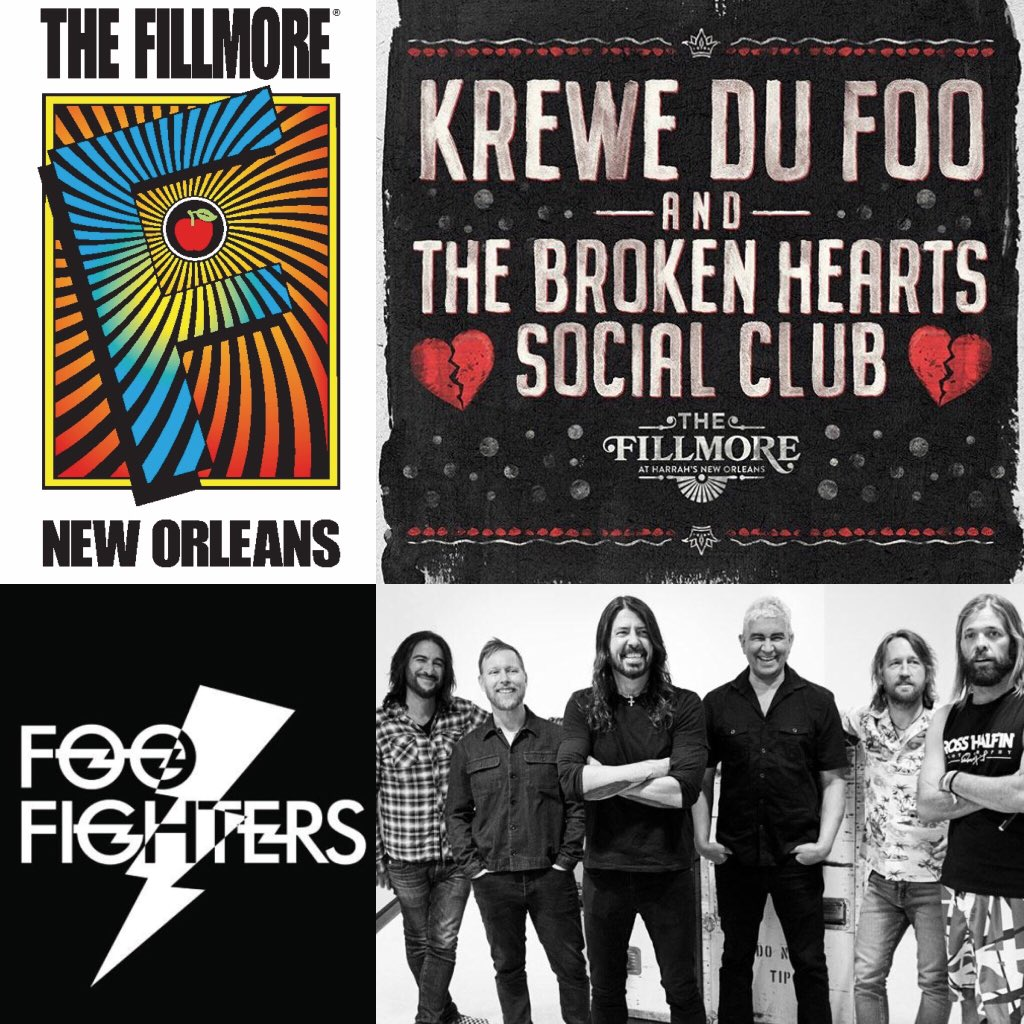 test Twitter Media - Overjoyed 😊 to share our partnership with @thefillmorenola and @livenation and the announcement of #krewedufoo Broken Hearts Social Club parade on February 14th with @foofighters 🙀🤘 @preshallband @kinfolkbrassband2019 and services provided by @frenchmenstreetproductions https://t.co/UDie2bDJpe