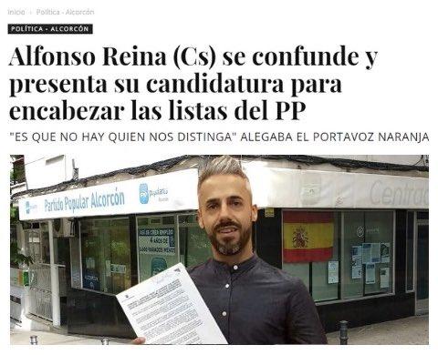 Alfonso Reina (Cs) se confunde y presenta su candidatura para encabezar las listas del PP. #Alcorcón #AlcorcónToday https://t.co/TTJuJpgc7T
