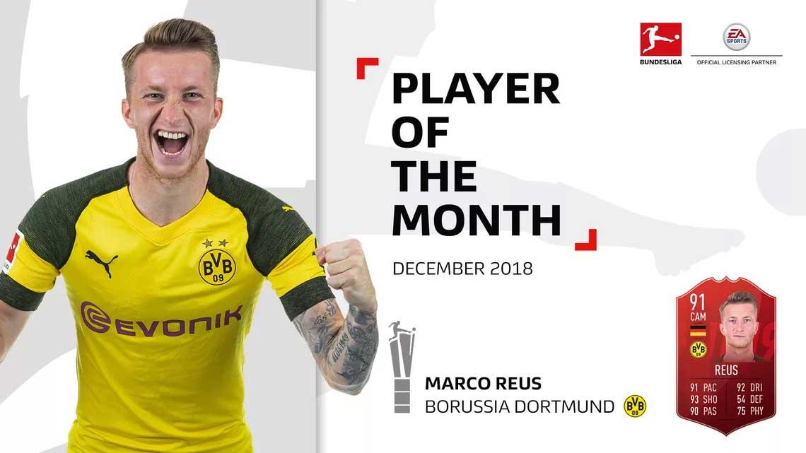🇩🇪 Marco Reus is (again) the December's Bundesliga #POTM. #FIFA19 https://t.co/XV0DP5xMj9 https://t.co/dHOxednyp7