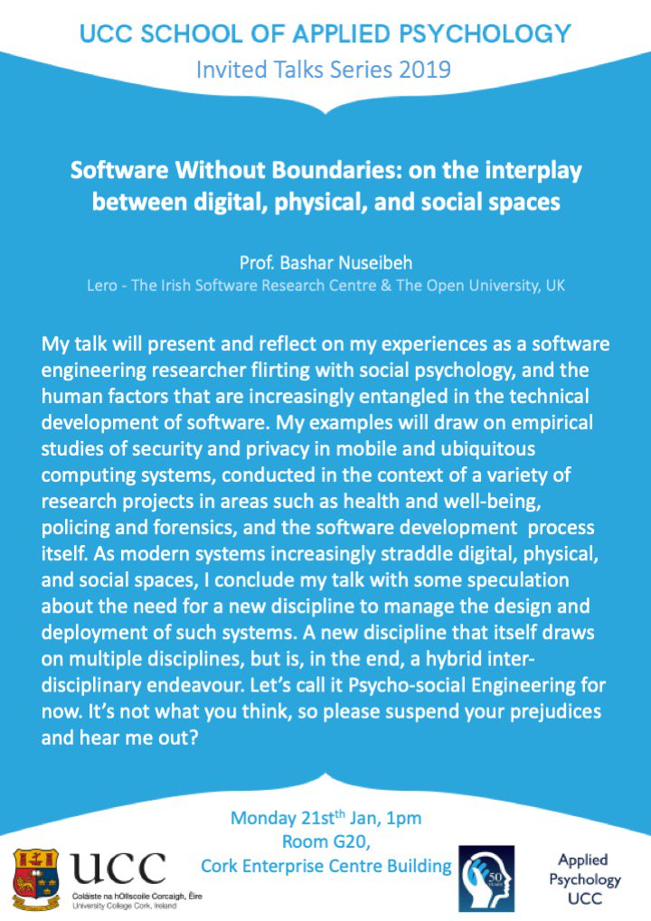 "test Twitter Media - All welcome to this talk on Monday 21st January by @BNuseibeh 1pm @ G20, CEC building. ""Software Without Boundaries: on the interplay between digital, physical, and social spaces"" https://t.co/M7hmxUgLci"
