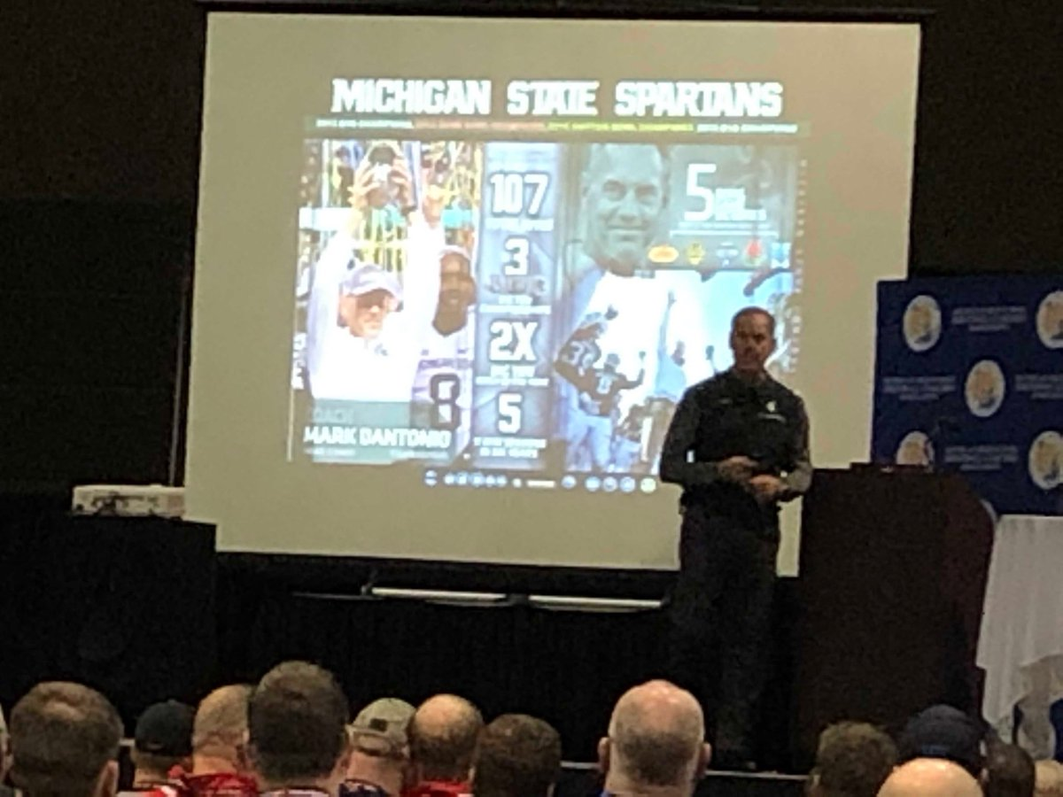 Dantonio speaking this morning at the Michigan High School Football Coaches Association https://t.co/kWH8R4dqPi