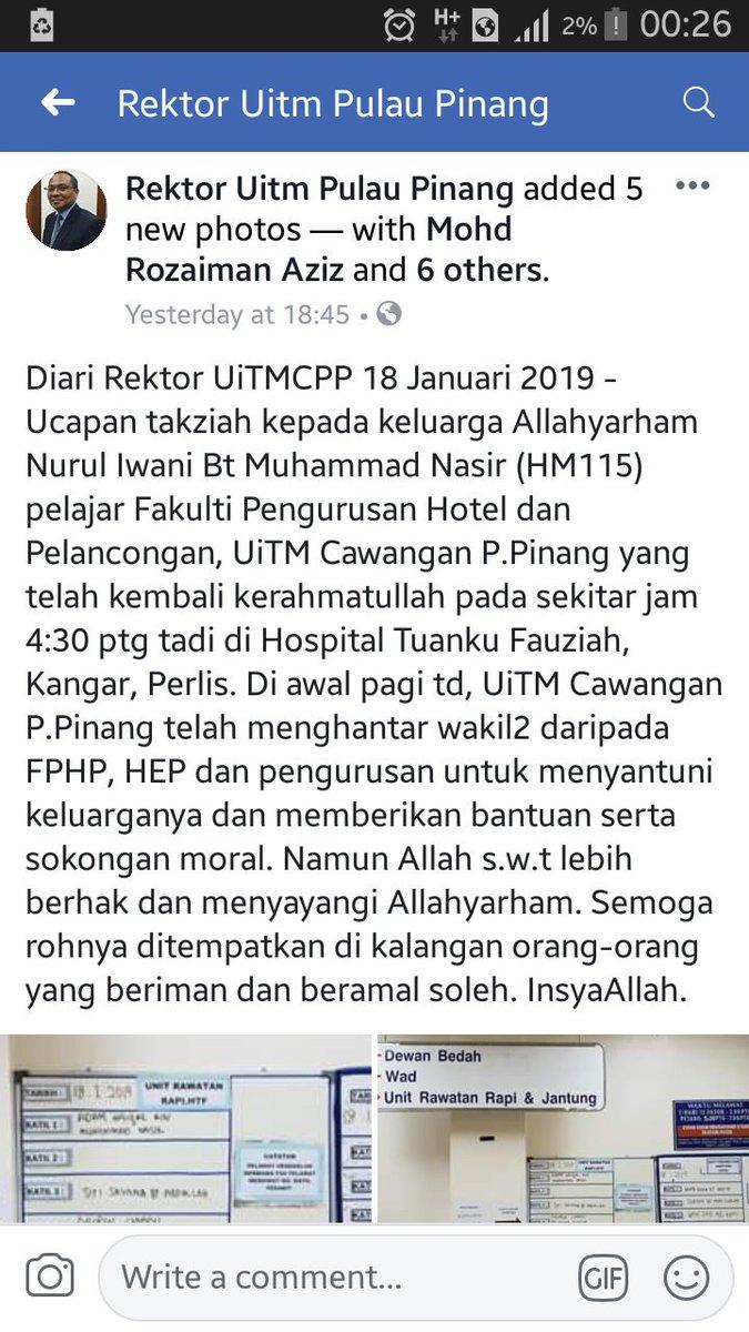 RT @UiTMPPTweeps: Sedekahkan Al Fatihah buat arwah Nurul Iwani :'( https://t.co/ch5Zc2bGnK