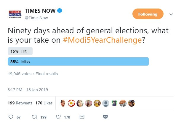 RT @rachitseth: Even Bhakt Channels got the Answer !😂😂😂  PS: look at the number of votes too !   #5YearChallenge https://t.co/qvUt4jL02I