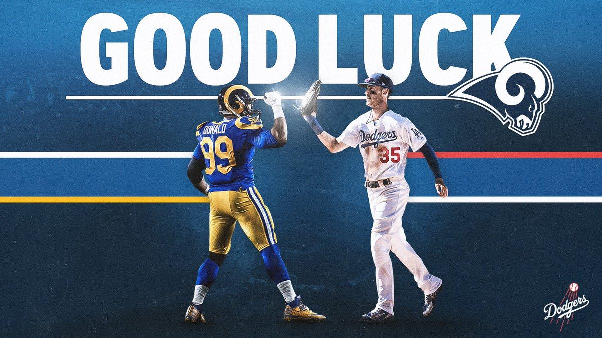 RT @Dodgers: Go get 'em, @RamsNFL! We're rooting for you!  #RamsHouse | #Dodgers https://t.co/IJ657aIyJn