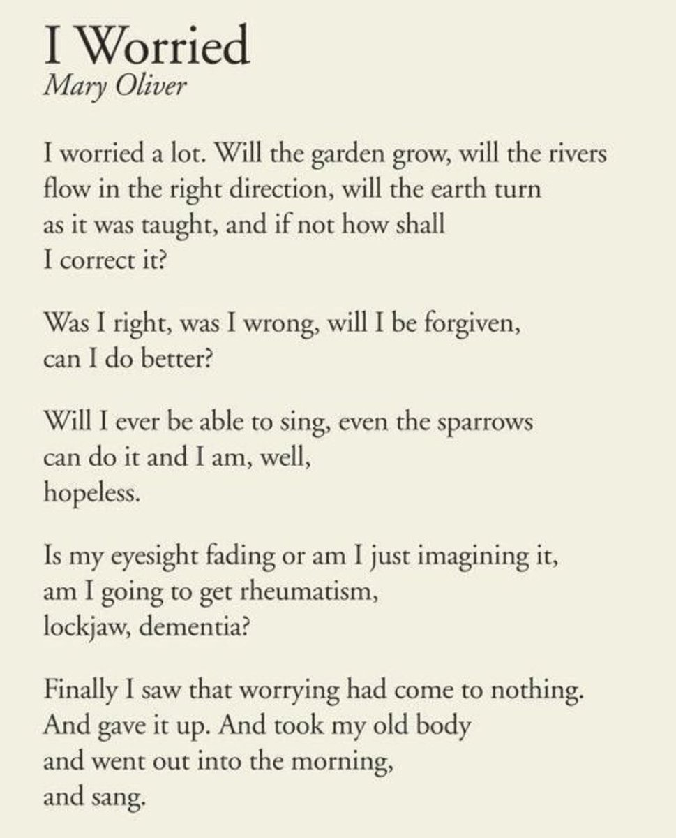 test Twitter Media - RT @CanonOakley: To end the week's tribute to Mary Oliver here is her I Worried #APoemADay https://t.co/2MCChJ62tp