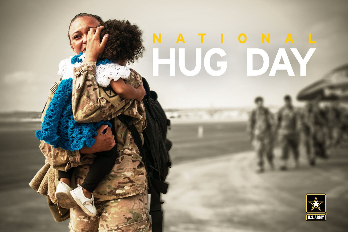 RT @USArmy: Today is #NationalHugDay. Give a Soldier a big hug and share your photos with us. https://t.co/3UN2PMdC3V