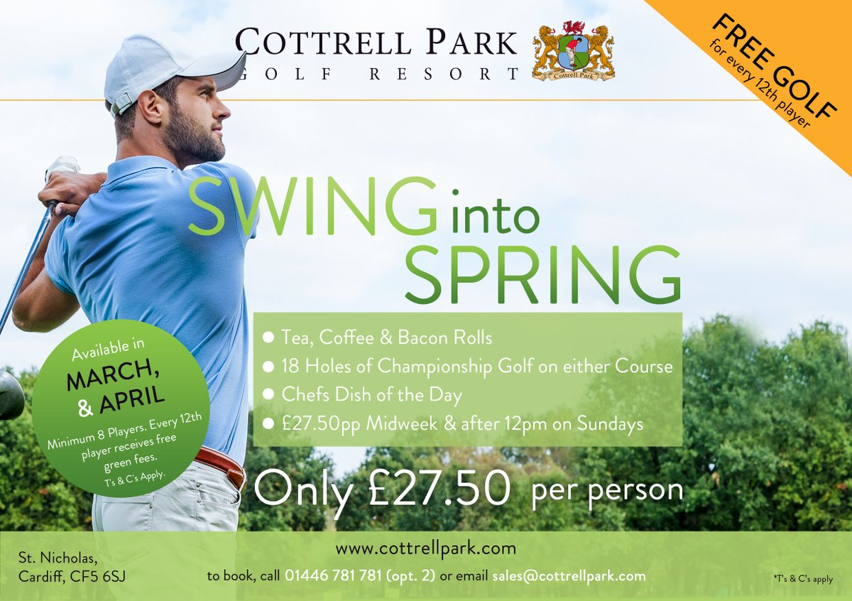 test Twitter Media - Swing into Spring..... 🏌️♂️ with our amazing 2019 package. Perfect excuse to get out and dust off your Golf Clubs this Spring for ONLY £27.50 Per Person.  Book your Swing into Spring Society Day today on; T: 01446 781781 Opt2 | E: sales@cottrellpark.com #golf #spring https://t.co/22e8VZVgQQ