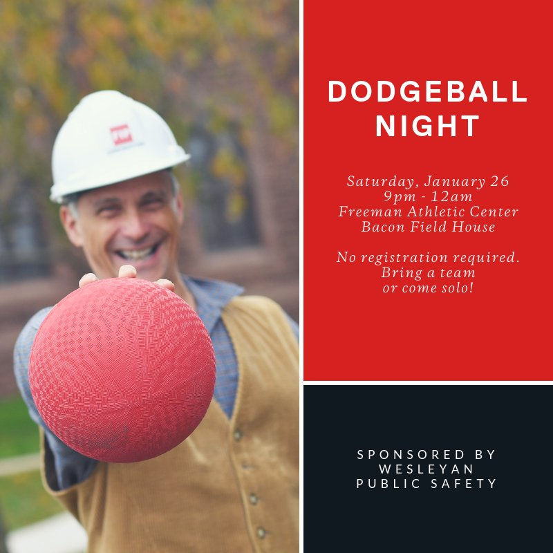 test Twitter Media - Dodge, duck, dip, dive, and dodge!! Join PSafe for a night of dodgeball on Saturday, January 26, 9pm - 12am at Bacon Field House. Free and open to all members of the Wesleyan community. No registration required. https://t.co/F8Z7ZfRwBq