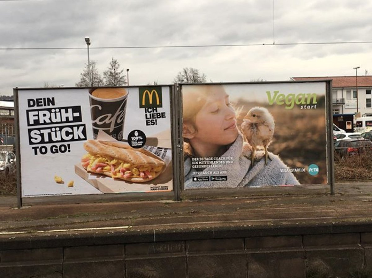 RT @IngridNewkirk: Location, location, location.  @PETADeutschland billboard vs. McDonald's. https://t.co/ZCw6N1jj1p