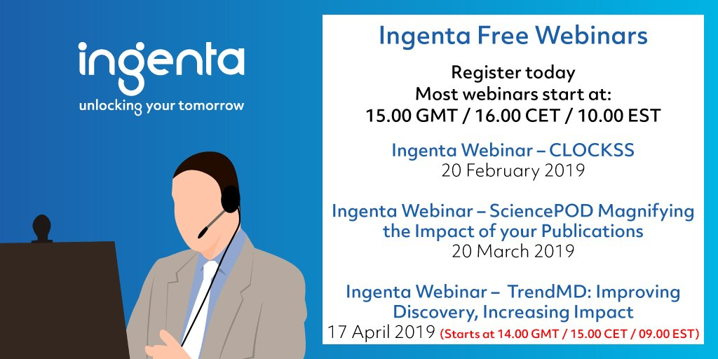 test Twitter Media - Register for the free Ingenta #webinar - our guest Craig Van Dyck @CLOCKSSArchive will discuss the unique features of CLOCKSS and why archiving is more essential than ever. #Publishers #Libraries #Digitalpreservation https://t.co/R3ZCOFCkhu https://t.co/8TeyLdswAQ