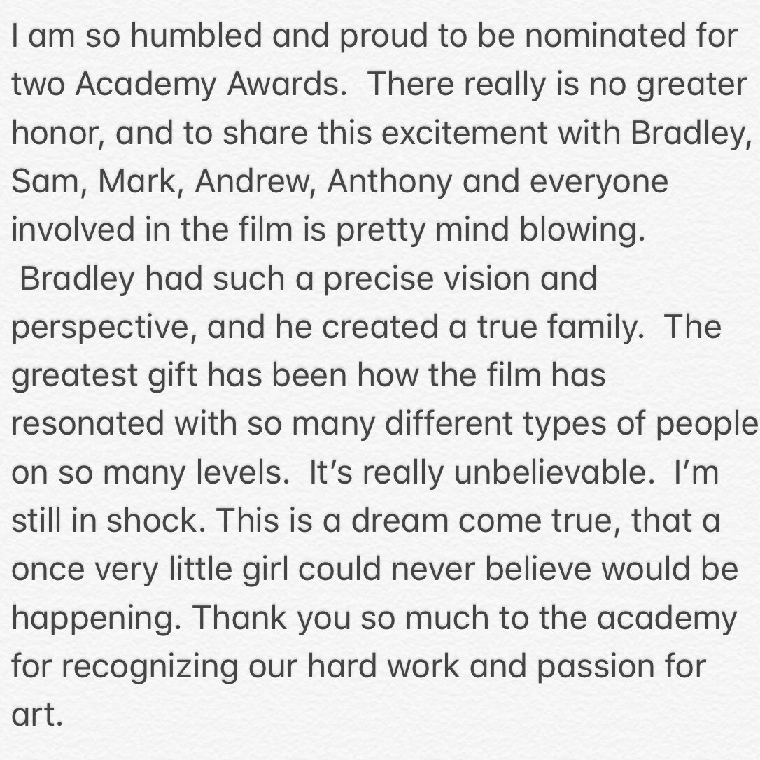 Thank you @theacademy ❣️ https://t.co/WK4MtYmsku