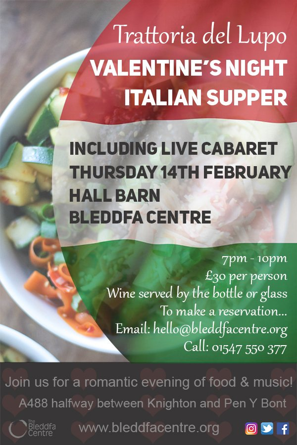 Image for Join us for an evening of romance, music and delicious Italian style food! https://t.co/azbj9OVciY Email hello@bleddfacentre.org or call 01547 550 377 https://t.co/vDpjrBKPHZ
